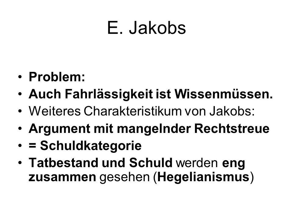 E. Jakobs Problem: Auch Fahrlässigkeit ist Wissenmüssen. Weiteres Charakteristikum von Jakobs: Argument mit mangelnder Rechtstreue = Schuldkategorie T