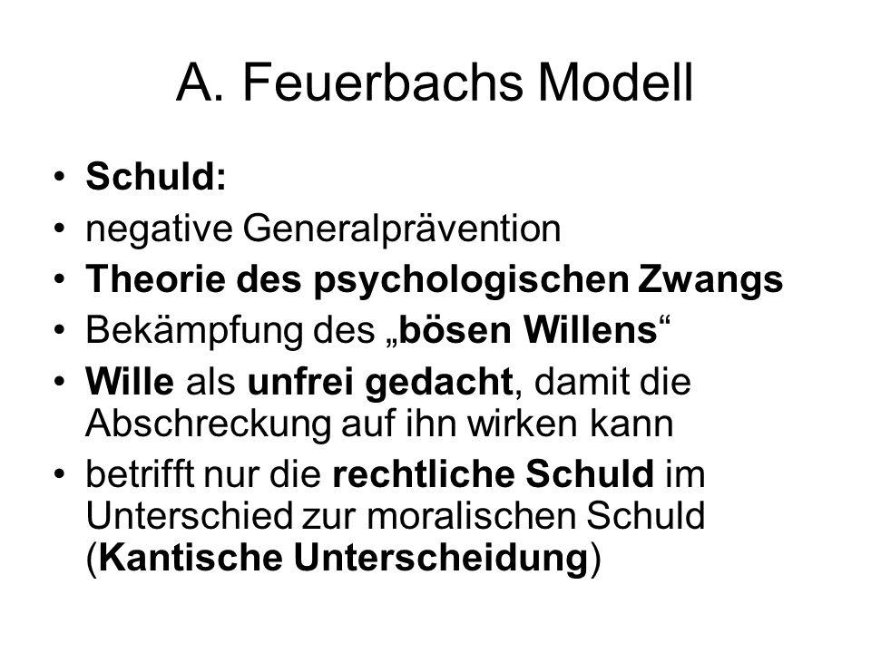 """A. Feuerbachs Modell Schuld: negative Generalprävention Theorie des psychologischen Zwangs Bekämpfung des """"bösen Willens"""" Wille als unfrei gedacht, da"""