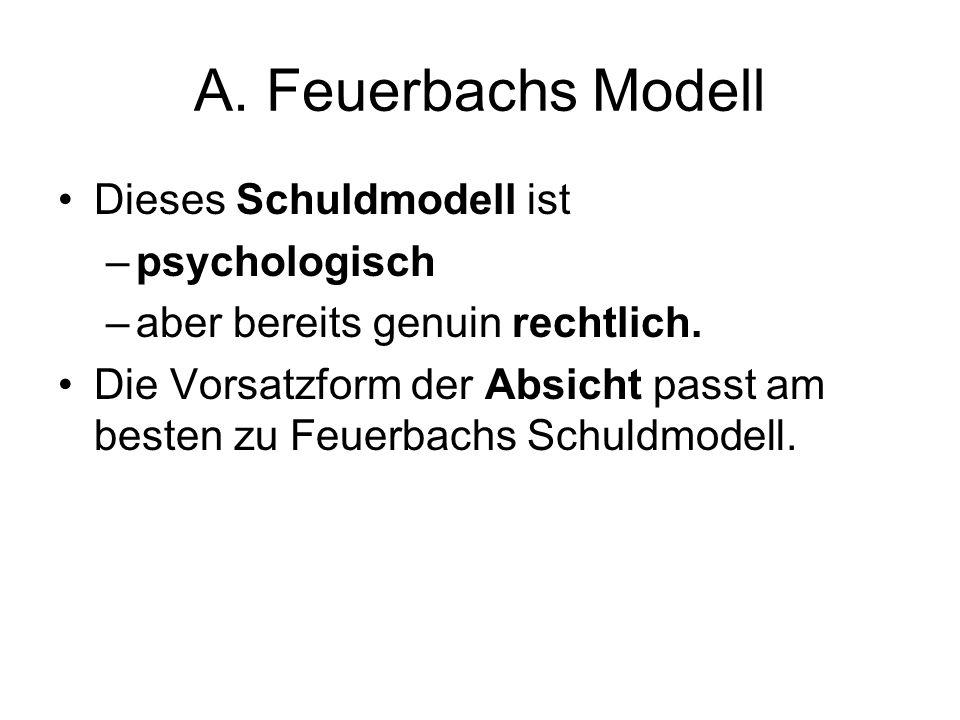 A. Feuerbachs Modell Dieses Schuldmodell ist –psychologisch –aber bereits genuin rechtlich. Die Vorsatzform der Absicht passt am besten zu Feuerbachs