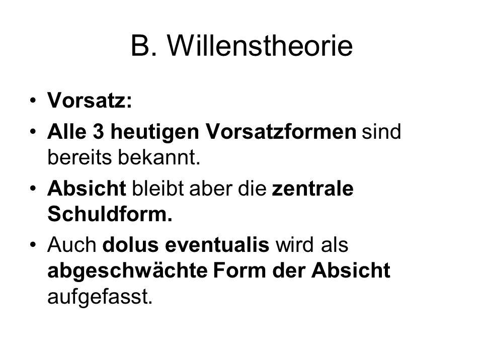 B. Willenstheorie Vorsatz: Alle 3 heutigen Vorsatzformen sind bereits bekannt. Absicht bleibt aber die zentrale Schuldform. Auch dolus eventualis wird