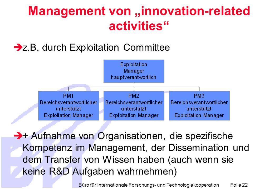 "Büro für Internationale Forschungs- und Technologiekooperation Folie 22 Management von ""innovation-related activities  z.B."