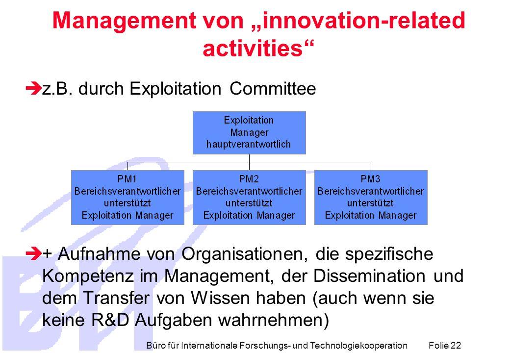 """Büro für Internationale Forschungs- und Technologiekooperation Folie 22 Management von """"innovation-related activities  z.B."""