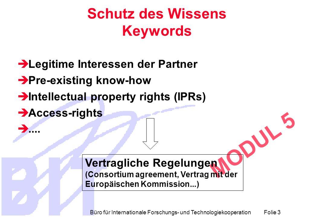 Büro für Internationale Forschungs- und Technologiekooperation Folie 3 MODUL 5 Schutz des Wissens Keywords  Legitime Interessen der Partner  Pre-existing know-how  Intellectual property rights (IPRs)  Access-rights ....