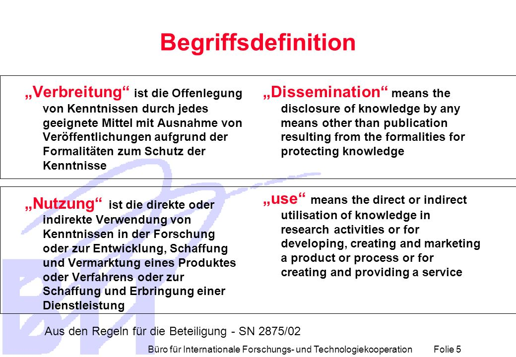 Büro für Internationale Forschungs- und Technologiekooperation Folie 6 Anforderungen der Kommission  Description of the innovation-related activities to be carried out during the duration of the projects  Plan for the management and protection of knowledge and of intellectual property  Plan for exploitation of results  Plan for dissemination of knowledge beyond the consortium (including policy makers, citizens, etc.) Aus Background Document for IP 11.11.02 Entwurf