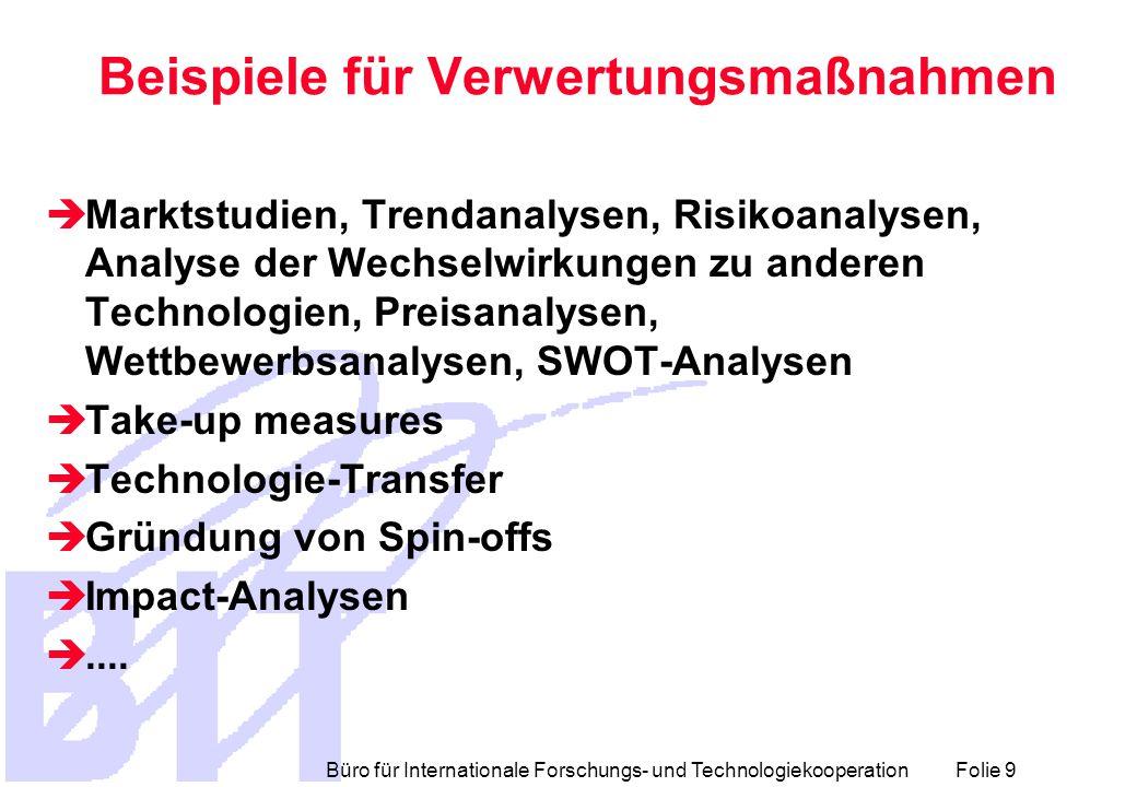 Büro für Internationale Forschungs- und Technologiekooperation Folie 20 TIP - Struktur (2)  Part 2 Description of each Result - Search for collaboration through Commission services (Publishable - one form per Result)  2.1 : Description of the result(s)  2.2 : Quantified data about the result  2.3 : Further collaboration, dissemination and use of the result  Part 3 Description of the intentions by each partner (Confidential - one form per partner)  3.1 : Description of the use and the dissemination of result(s), partner per partner  3.2 : Quantified data for each partner's main result