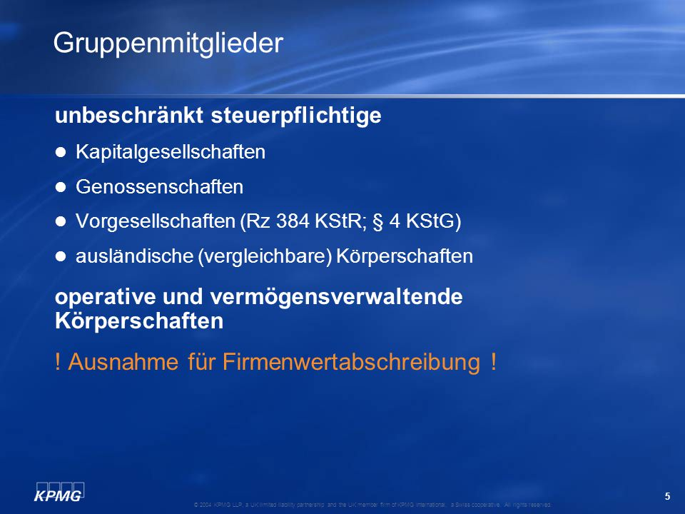 66 © 2004 KPMG LLP, a UK limited liability partnership and the UK member firm of KPMG International, a Swiss cooperative.