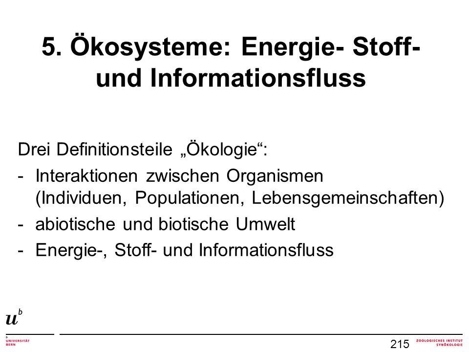 """215 5. Ökosysteme: Energie- Stoff- und Informationsfluss Drei Definitionsteile """"Ökologie"""": -Interaktionen zwischen Organismen (Individuen, Populatione"""