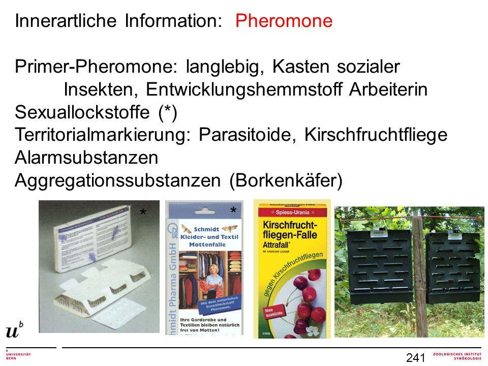 241 Innerartliche Information: Pheromone Primer-Pheromone: langlebig, Kasten sozialer Insekten, Entwicklungshemmstoff Arbeiterin Sexuallockstoffe (*)