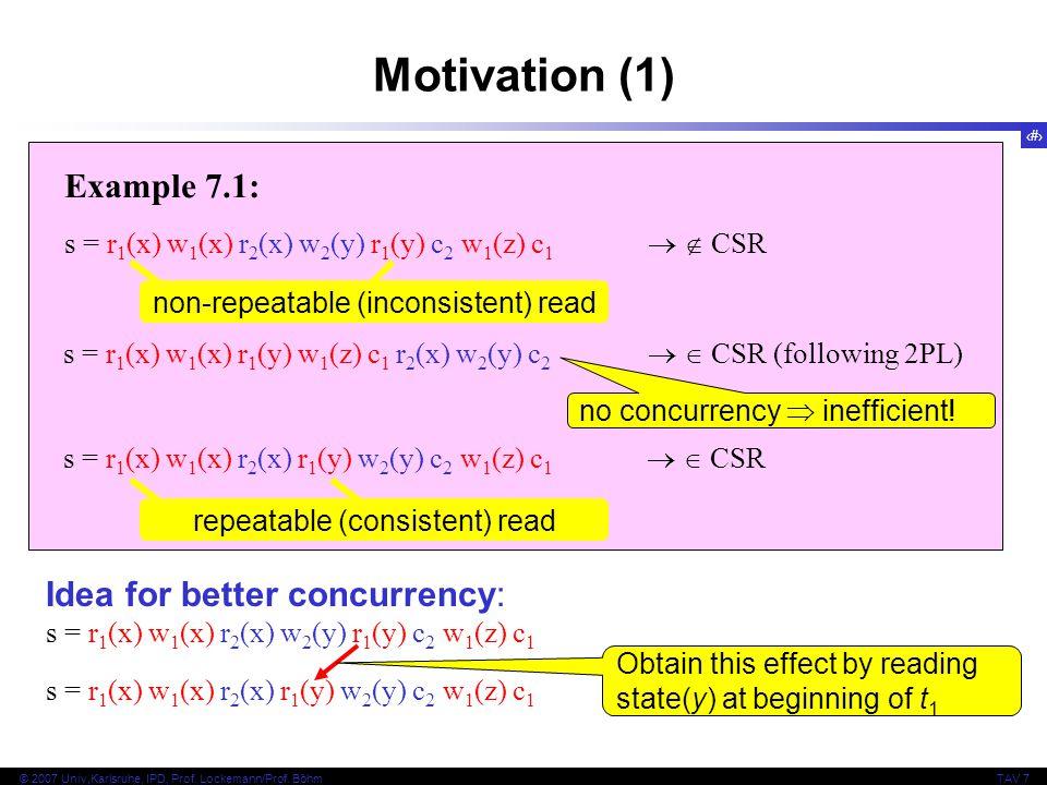 3 © 2007 Univ,Karlsruhe, IPD, Prof. Lockemann/Prof. BöhmTAV 7 Example 7.1: s = r 1 (x) w 1 (x) r 2 (x) w 2 (y) r 1 (y) c 2 w 1 (z) c 1   CSR Motivat