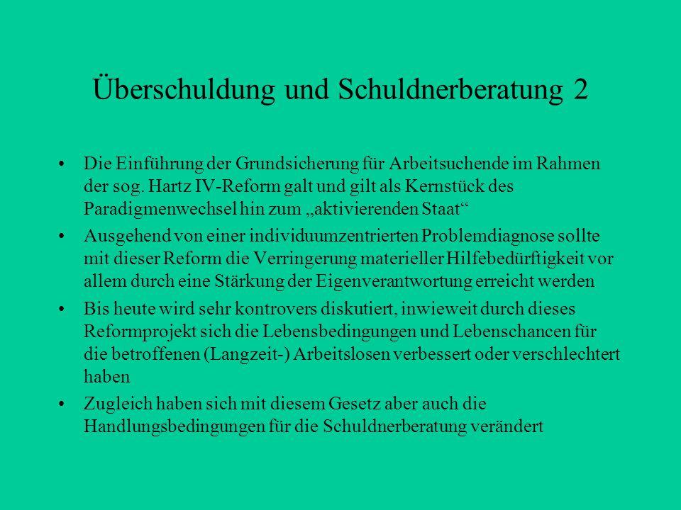 Überschuldung und Schuldnerberatung 2 Die Einführung der Grundsicherung für Arbeitsuchende im Rahmen der sog.