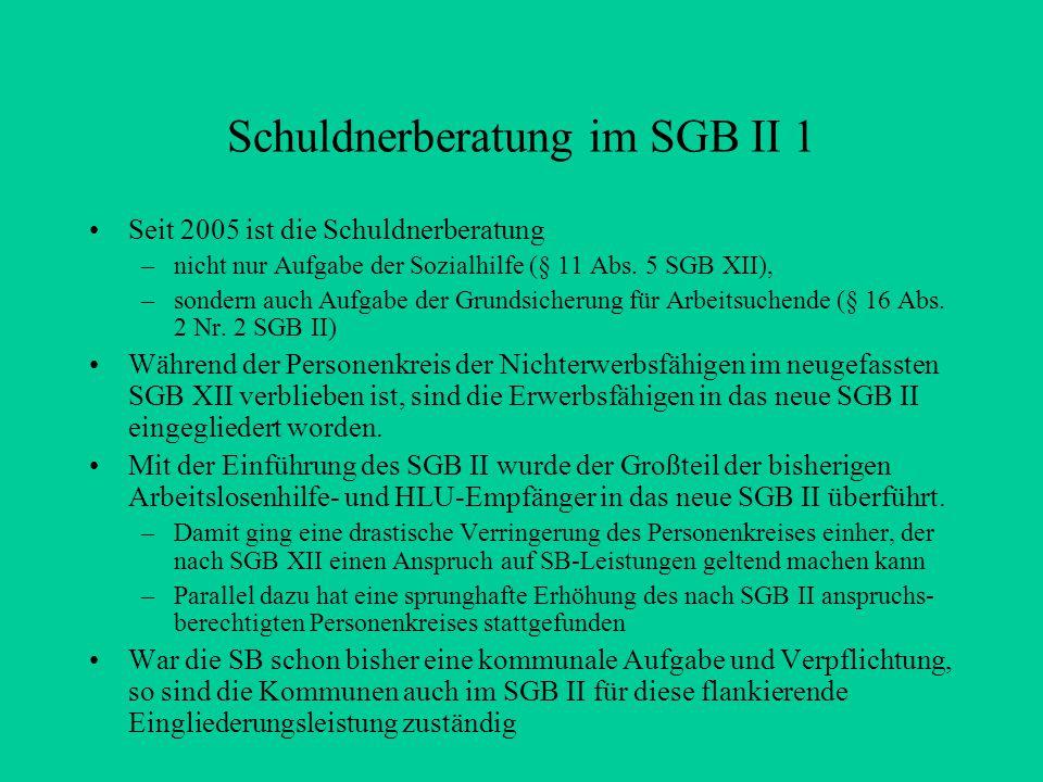 Schuldnerberatung im SGB II 1 Seit 2005 ist die Schuldnerberatung –nicht nur Aufgabe der Sozialhilfe (§ 11 Abs.