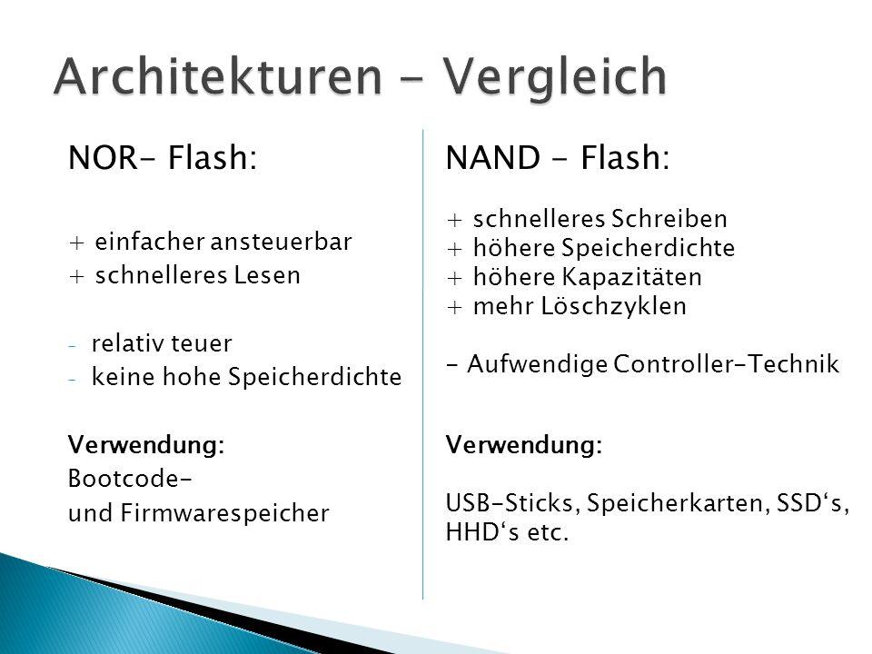 NOR- Flash: + einfacher ansteuerbar + schnelleres Lesen - relativ teuer - keine hohe Speicherdichte Verwendung: Bootcode- und Firmwarespeicher NAND -