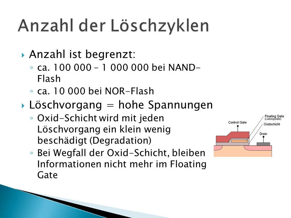  Anzahl ist begrenzt: ◦ ca. 100 000 – 1 000 000 bei NAND- Flash ◦ ca. 10 000 bei NOR-Flash  Löschvorgang = hohe Spannungen ◦ Oxid-Schicht wird mit j
