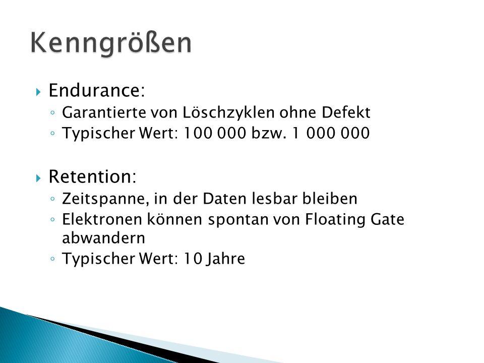  Endurance: ◦ Garantierte von Löschzyklen ohne Defekt ◦ Typischer Wert: 100 000 bzw.
