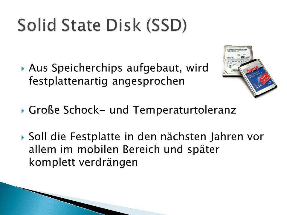  Aus Speicherchips aufgebaut, wird festplattenartig angesprochen  Große Schock- und Temperaturtoleranz  Soll die Festplatte in den nächsten Jahren