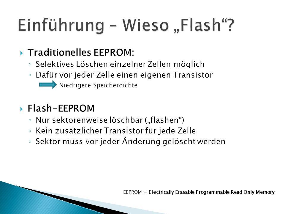 """ Traditionelles EEPROM: ◦ Selektives Löschen einzelner Zellen möglich ◦ Dafür vor jeder Zelle einen eigenen Transistor  Niedrigere Speicherdichte  Flash-EEPROM ◦ Nur sektorenweise löschbar (""""flashen ) ◦ Kein zusätzlicher Transistor für jede Zelle ◦ Sektor muss vor jeder Änderung gelöscht werden EEPROM = Electrically Erasable Programmable Read Only Memory"""