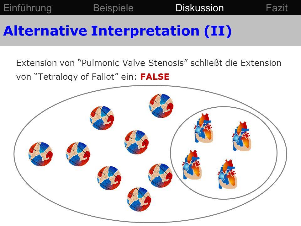 """Extension von """"Pulmonic Valve Stenosis"""" schließt die Extension von """"Tetralogy of Fallot"""" ein: FALSE Einführung Beispiele Diskussion Fazit Alternative"""