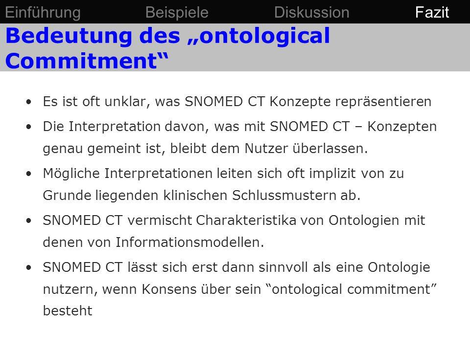 """Bedeutung des """"ontological Commitment"""" Es ist oft unklar, was SNOMED CT Konzepte repräsentieren Die Interpretation davon, was mit SNOMED CT – Konzepte"""
