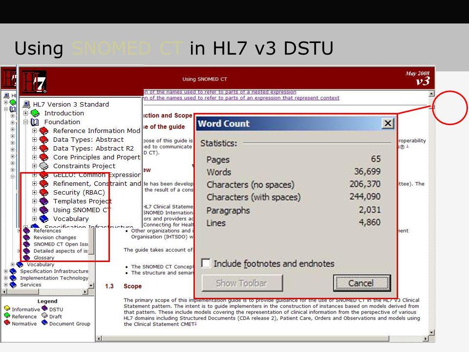 Using SNOMED CT in HL7 v3 DSTU