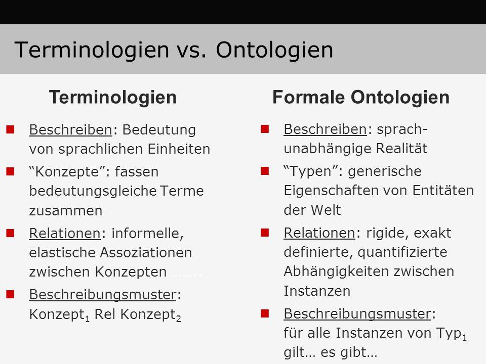 """Terminologien vs. Ontologien Beschreiben: Bedeutung von sprachlichen Einheiten """"Konzepte"""": fassen bedeutungsgleiche Terme zusammen Relationen: informe"""