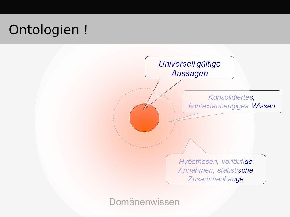 Konsolidiertes, kontextabhängiges Wissen Hypothesen, vorläufige Annahmen, statistische Zusammenhänge Domänenwissen Universell gültige Aussagen Ontolog