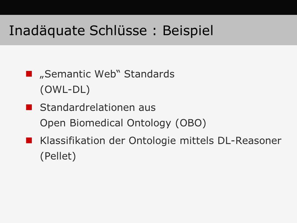 """""""Semantic Web"""" Standards (OWL-DL) Standardrelationen aus Open Biomedical Ontology (OBO) Klassifikation der Ontologie mittels DL-Reasoner (Pellet) Inad"""