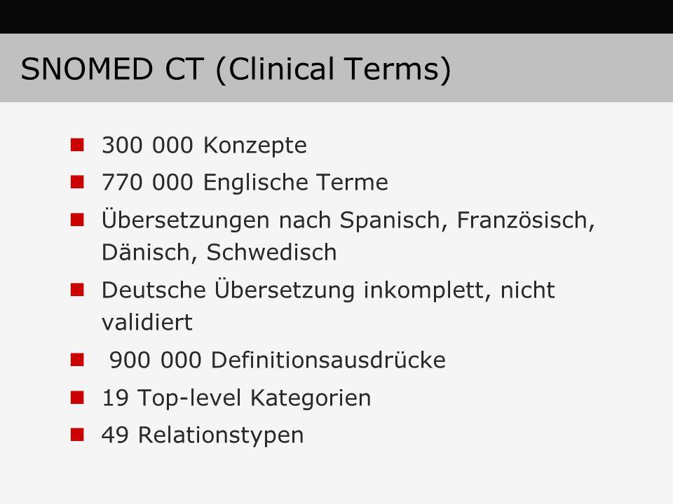 SNOMED CT (Clinical Terms) 300 000 Konzepte 770 000 Englische Terme Übersetzungen nach Spanisch, Französisch, Dänisch, Schwedisch Deutsche Übersetzung