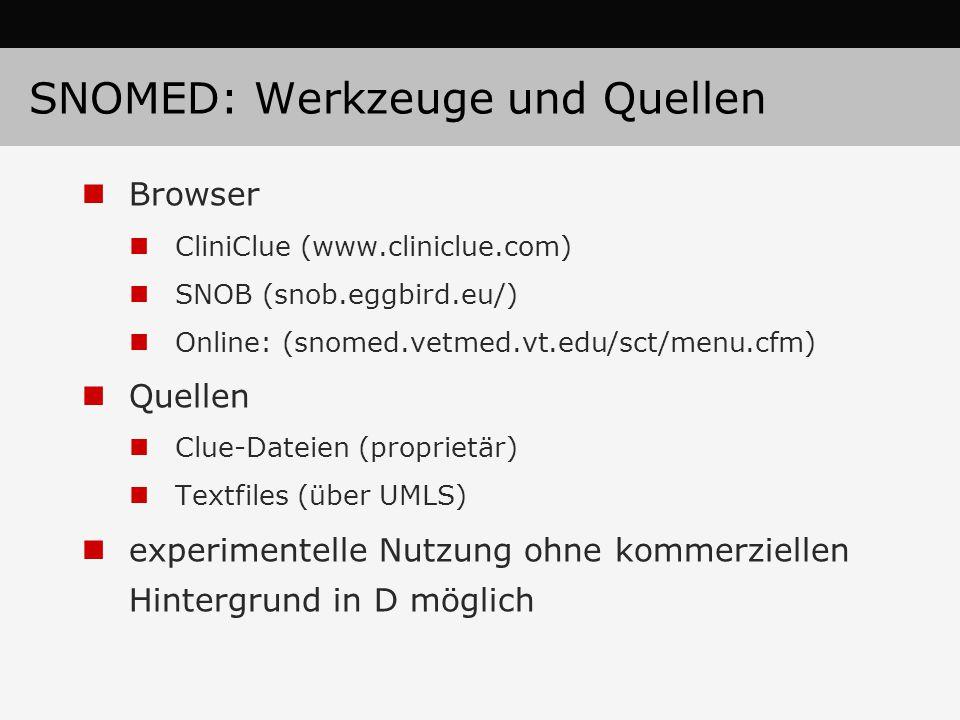 SNOMED: Werkzeuge und Quellen Browser CliniClue (www.cliniclue.com) SNOB (snob.eggbird.eu/) Online: (snomed.vetmed.vt.edu/sct/menu.cfm) Quellen Clue-D