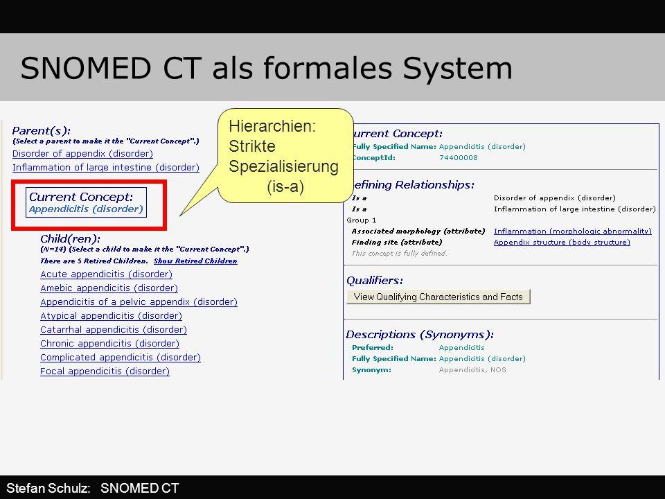 SNOMED CT als formales System Hierarchien: Strikte Spezialisierung (is-a) Stefan Schulz: SNOMED CT