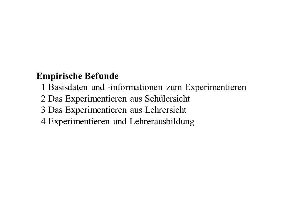 Empirische Befunde 1 Basisdaten und -informationen zum Experimentieren 2 Das Experimentieren aus Schülersicht 3 Das Experimentieren aus Lehrersicht 4