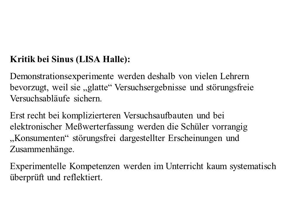 """Kritik bei Sinus Kritik bei Sinus (LISA Halle): Demonstrationsexperimente werden deshalb von vielen Lehrern bevorzugt, weil sie """"glatte"""" Versuchsergeb"""