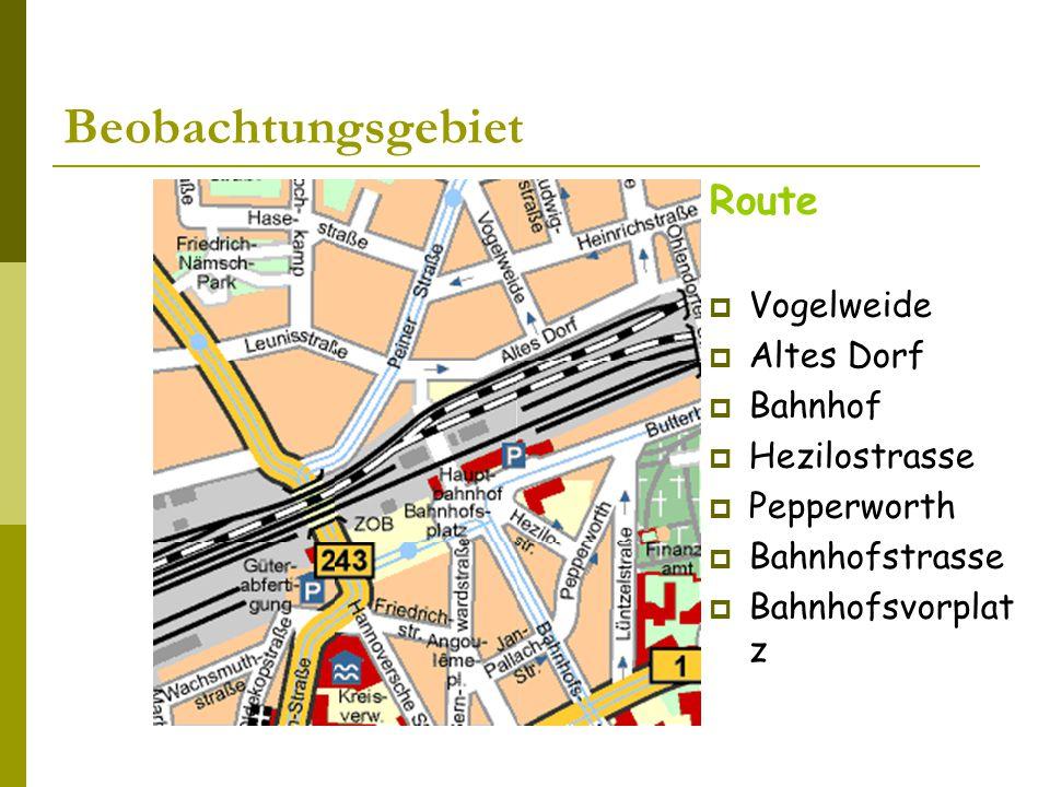 Beobachtungsgebiet Route  Vogelweide  Altes Dorf  Bahnhof  Hezilostrasse  Pepperworth  Bahnhofstrasse  Bahnhofsvorplat z