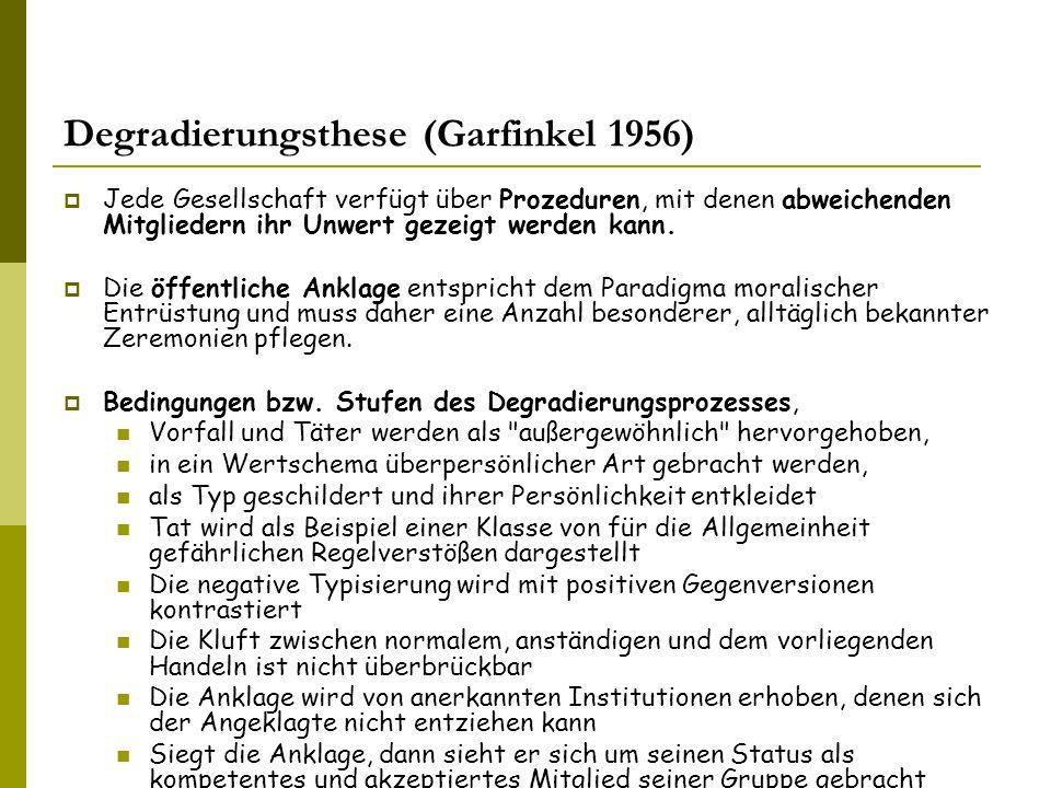 Degradierungsthese (Garfinkel 1956)  Jede Gesellschaft verfügt über Prozeduren, mit denen abweichenden Mitgliedern ihr Unwert gezeigt werden kann.