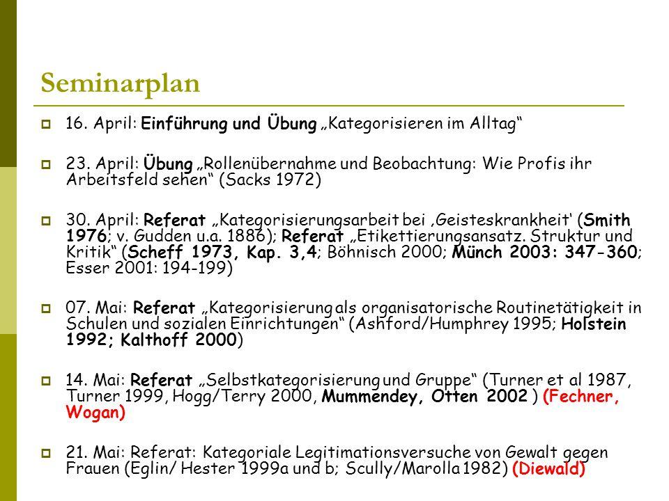 """Seminarplan  16.April: Einführung und Übung """"Kategorisieren im Alltag  23."""