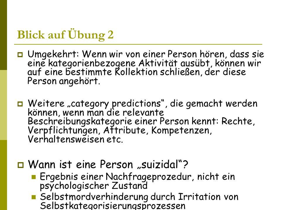 Blick auf Übung 2  Umgekehrt: Wenn wir von einer Person hören, dass sie eine kategorienbezogene Aktivität ausübt, können wir auf eine bestimmte Kollektion schließen, der diese Person angehört.