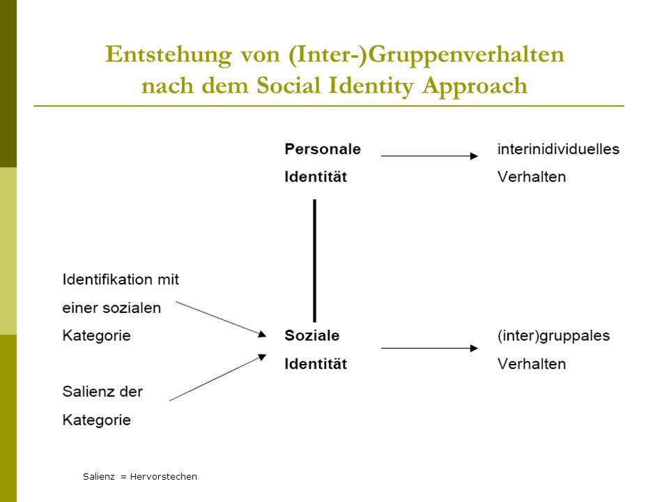 Entstehung von (Inter-)Gruppenverhalten nach dem Social Identity Approach Salienz = Hervorstechen