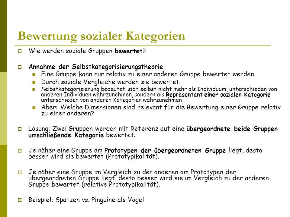 Bewertung sozialer Kategorien  Wie werden soziale Gruppen bewertet.