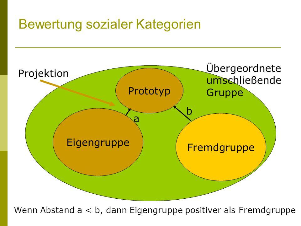 Übergeordnete umschließende Gruppe Bewertung sozialer Kategorien Eigengruppe Fremdgruppe Prototyp a b Wenn Abstand a < b, dann Eigengruppe positiver als Fremdgruppe Projektion
