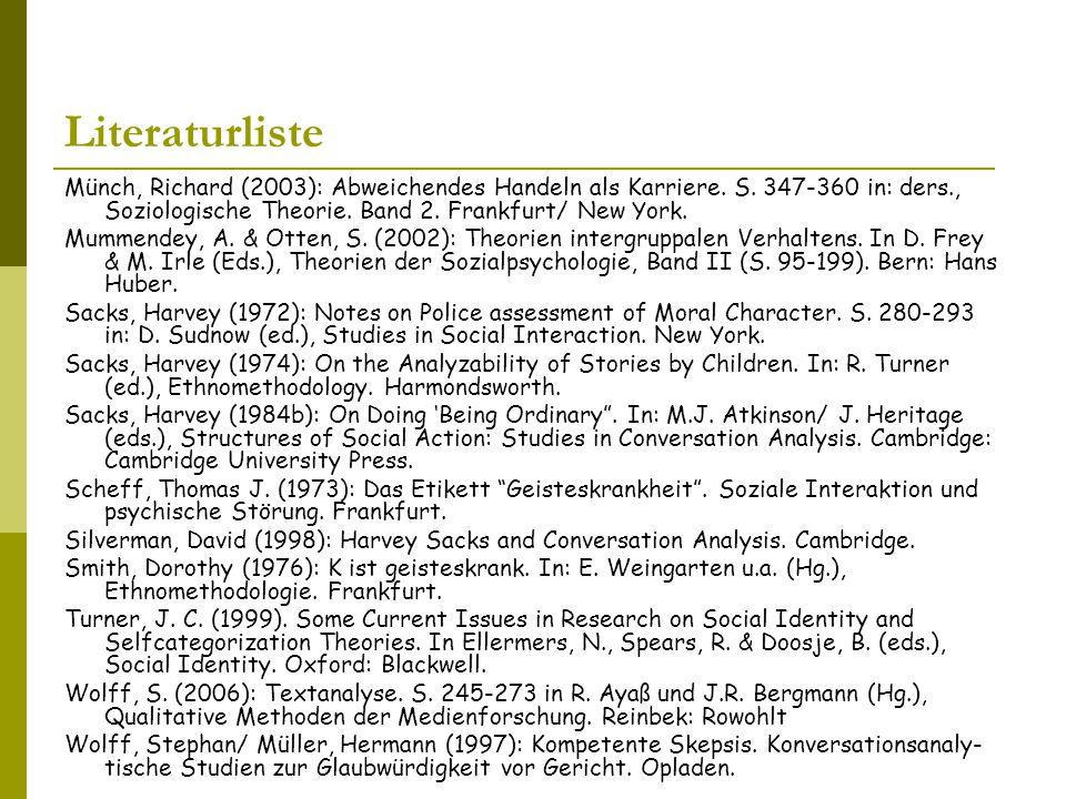 Literaturliste Münch, Richard (2003): Abweichendes Handeln als Karriere.