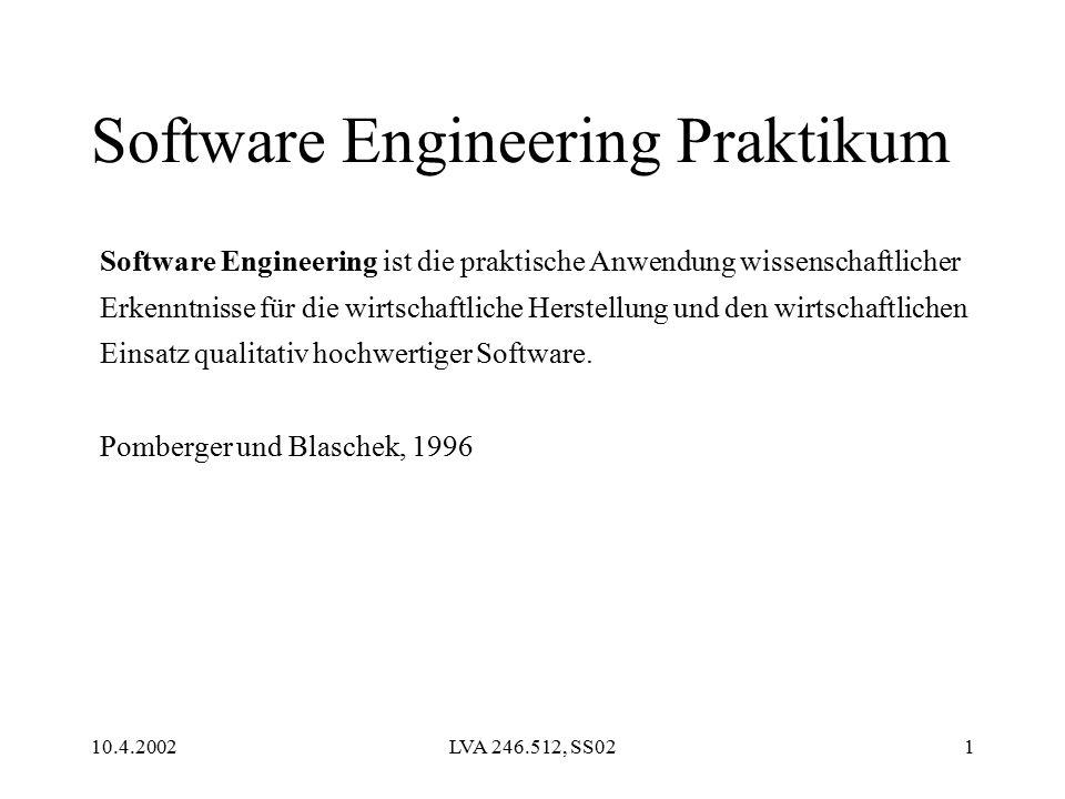 10.4.2002LVA 246.512, SS021 Software Engineering Praktikum Software Engineering ist die praktische Anwendung wissenschaftlicher Erkenntnisse für die wirtschaftliche Herstellung und den wirtschaftlichen Einsatz qualitativ hochwertiger Software.