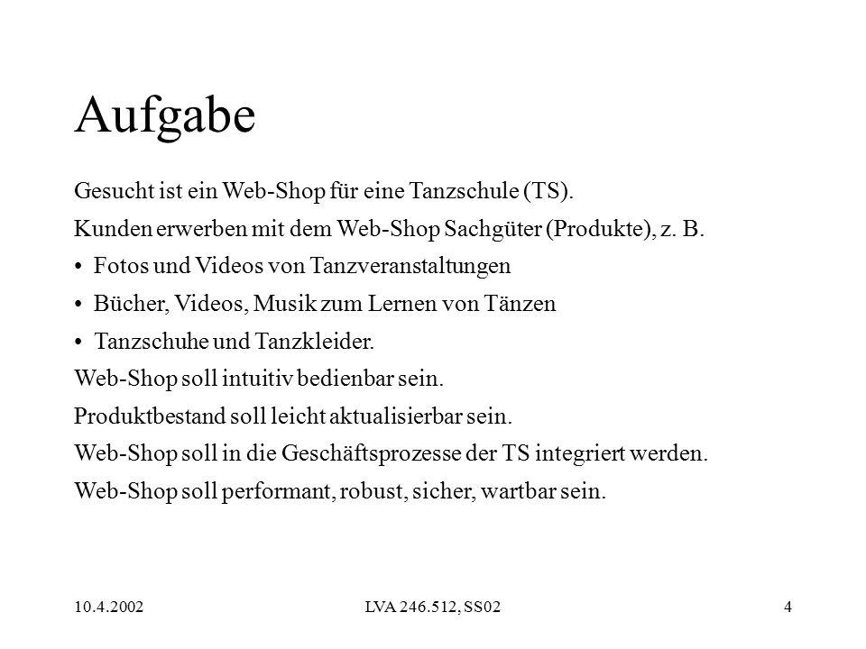 10.4.2002LVA 246.512, SS024 Aufgabe Gesucht ist ein Web-Shop für eine Tanzschule (TS).