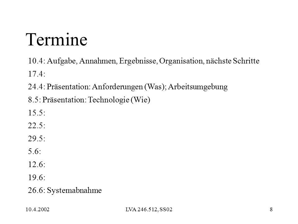 10.4.2002LVA 246.512, SS028 Termine 10.4: Aufgabe, Annahmen, Ergebnisse, Organisation, nächste Schritte 17.4: 24.4: Präsentation: Anforderungen (Was); Arbeitsumgebung 8.5: Präsentation: Technologie (Wie) 15.5: 22.5: 29.5: 5.6: 12.6: 19.6: 26.6: Systemabnahme