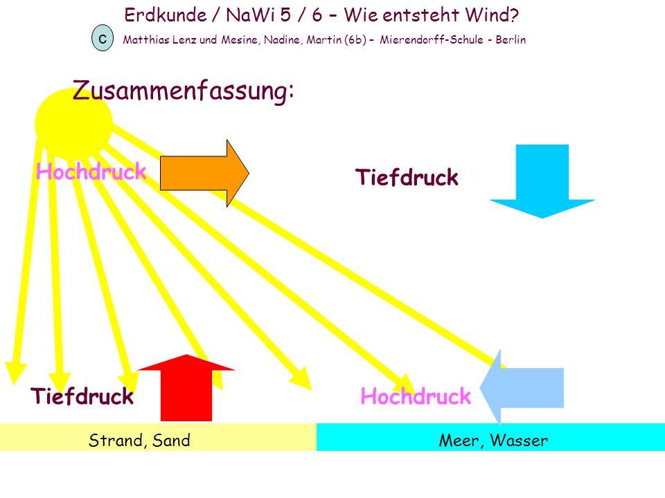 Erdkunde / NaWi 5 / 6 – Wie entsteht Wind? Matthias Lenz und Mesine, Nadine, Martin (6b) – Mierendorff-Schule - Berlin c Strand, SandMeer, Wasser Tief