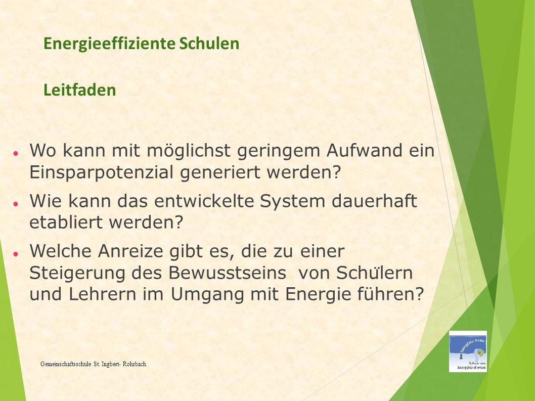 Energieeffiziente Schulen Leitfaden Wo kann mit möglichst geringem Aufwand ein Einsparpotenzial generiert werden? Wie kann das entwickelte System daue