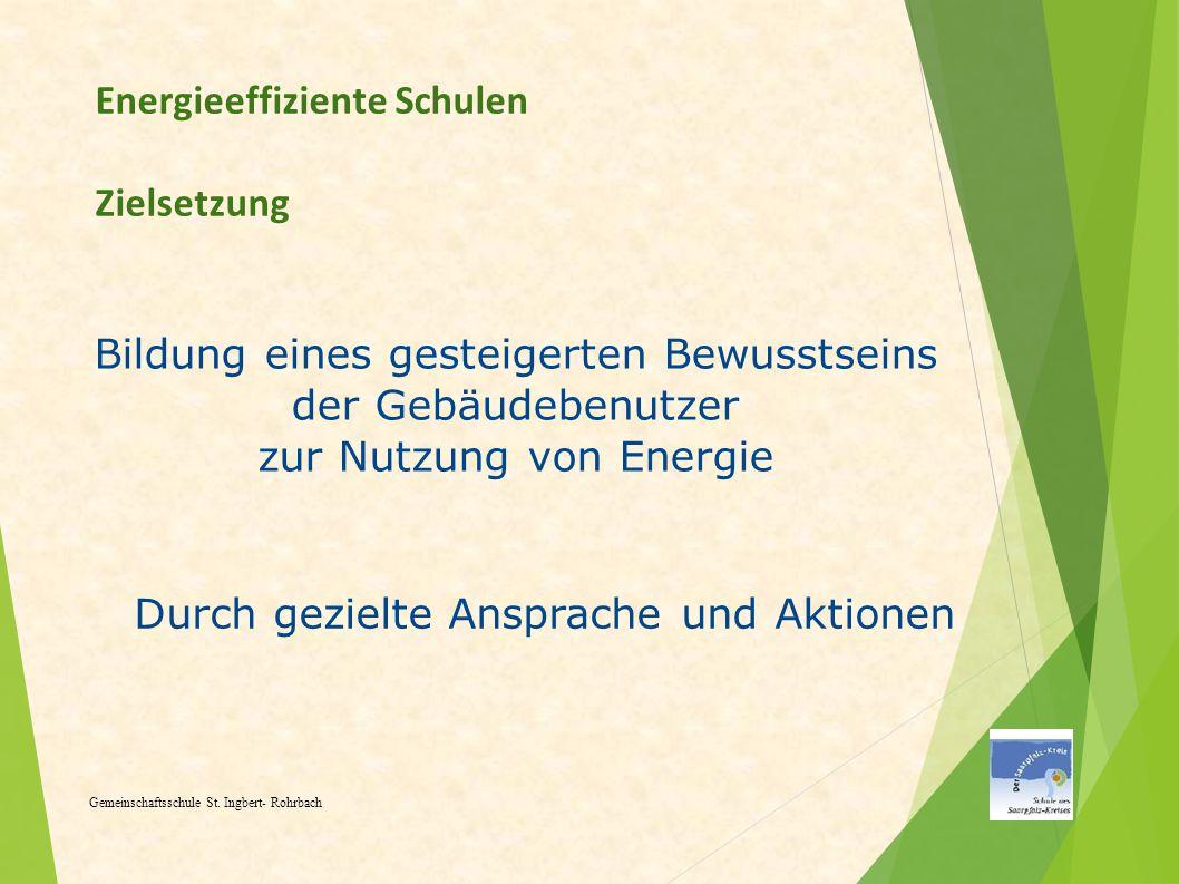 Energieeffiziente Schulen Zielsetzung Gemeinschaftsschule St. Ingbert- Rohrbach Bildung eines gesteigerten Bewusstseins der Gebäudebenutzer zur Nutzun