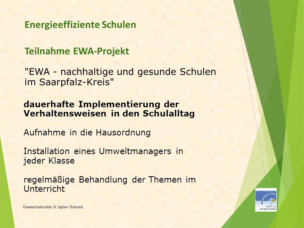 Energieeffiziente Schulen Teilnahme EWA-Projekt Gemeinschaftsschule St. Ingbert- Rohrbach