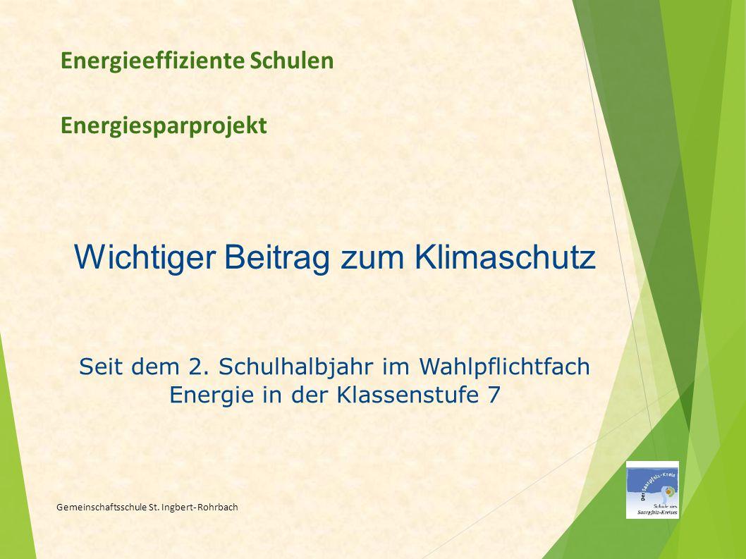 Energieeffiziente Schulen Energiesparprojekt Gemeinschaftsschule St. Ingbert - Rohrbach Wichtiger Beitrag zum Klimaschutz Seit dem 2. Schulhalbjahr im