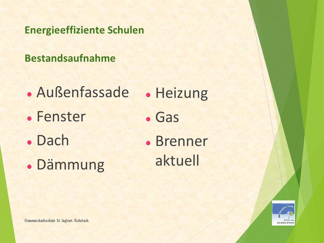 Energieeffiziente Schulen Bestandsaufnahme Außenfassade Fenster Dach Dämmung Gemeinschaftsschule St. Ingbert- Rohrbach Heizung Gas Brenner aktuell