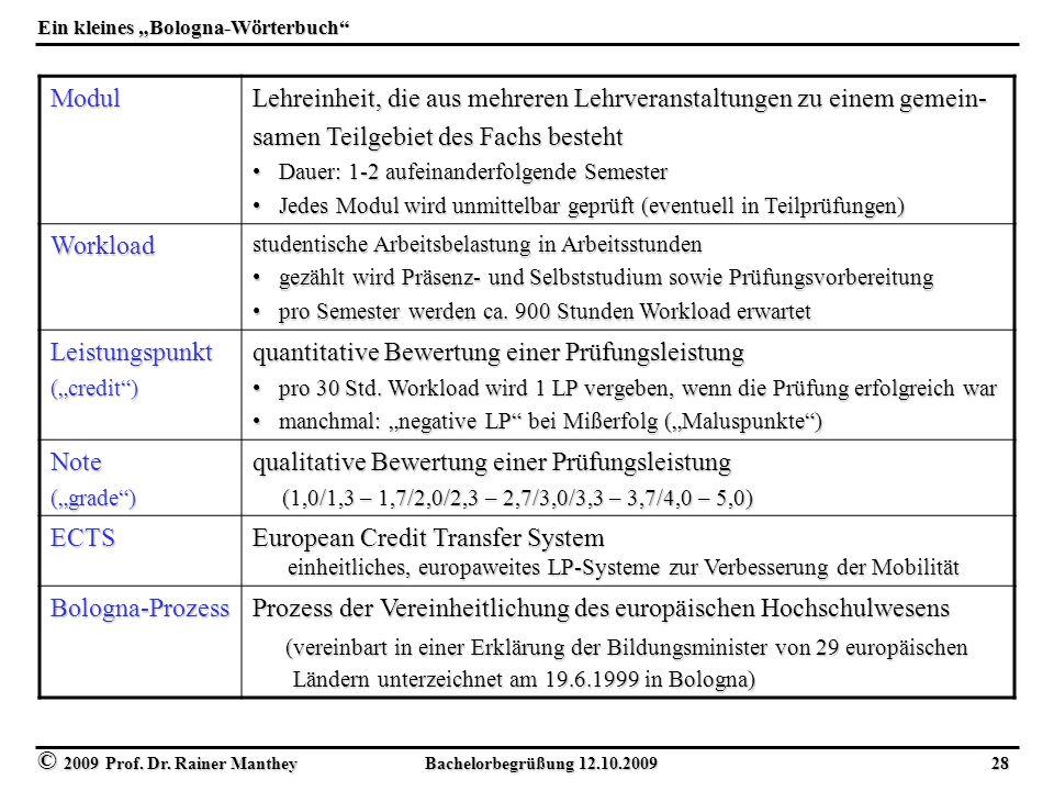 """© 2009 Prof. Dr. Rainer Manthey Bachelorbegrüßung 12.10.2009 28 Ein kleines """"Bologna-Wörterbuch"""" Modul Lehreinheit, die aus mehreren Lehrveranstaltung"""