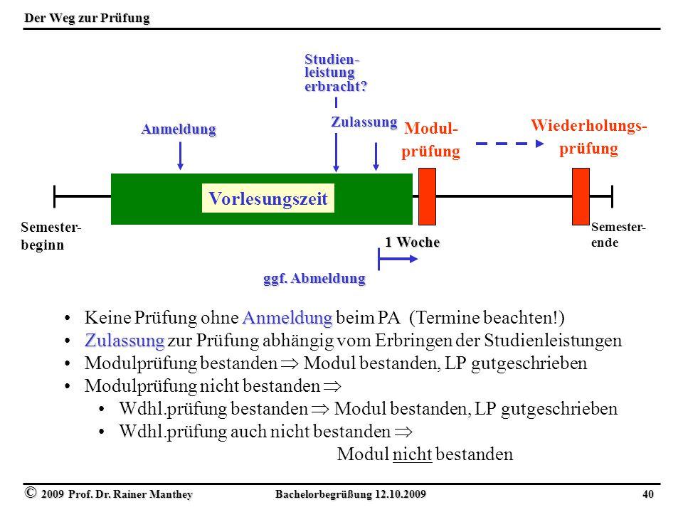 © 2009 Prof. Dr. Rainer Manthey Bachelorbegrüßung 12.10.2009 40 Der Weg zur Prüfung Semester- beginn Semester- ende Vorlesungszeit Modul- prüfung Wied